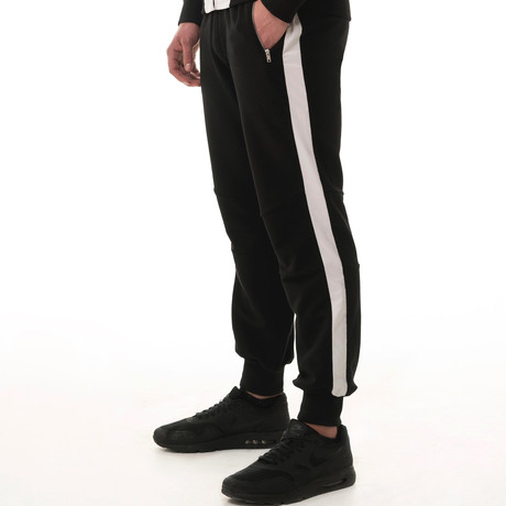 Stripe Tracksuit Bottoms // Black (S)