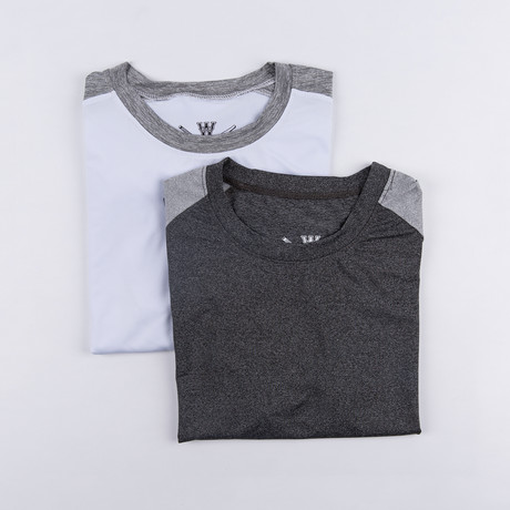 Builder Fitness Tech T-Shirt // Charcoal + White // Pack of 2