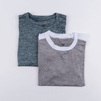 Gamer Fitness Tech T-Shirt // Marled Blue + Grey // Pack of 2 (S)