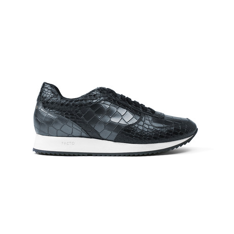 Croco Runner Sneakers // Gunmetal