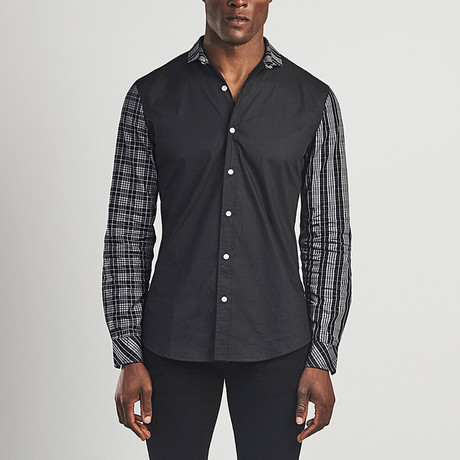 Long Sleeved Check Shirt // Black (S)