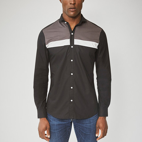 Long Sleeved Stripe Shirt // Black (S)