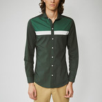 Long Sleeved Stripe Shirt // Olive (S)