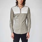 Long Sleeved Stripe Shirt // Gray (L)