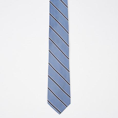 Mixed Texture Stripe Silk Tie // Blue