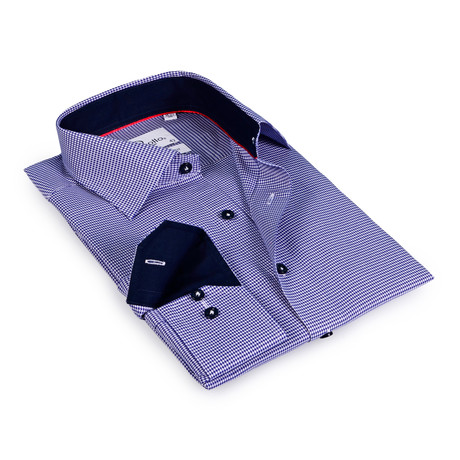 Leveron Button-Up Shirt // Navy Houndstooth + Navy (US: 15R)