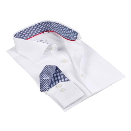 Arris Button-Up Shirt // White + Black-Blue Pattern Cuff (US: 15R)