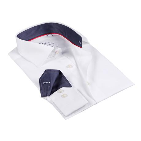 Kempton Button-Up Shirt // White + Charcoal (US: 15R)