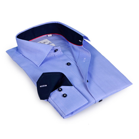Austin Button-Up Shirt // Light Blue + Navy (US: 15R)