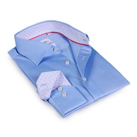 Galvin Button-Up Shirt // Light Blue + Micro Floral Trims (US: 15R)