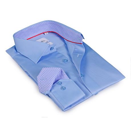 Traston Button-Up Shirt // Light Blue + Light Blue Pattern Cuff (US: 15R)
