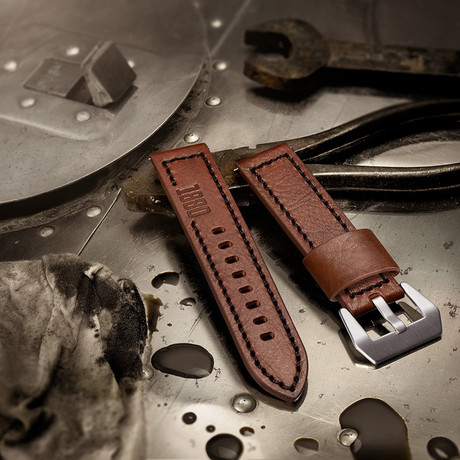 Aeromeister Strap // Brown Vintage Leather + Inscription 1880 // S05