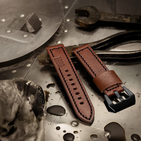 Aeromeister Strap // Brown Vintage Leather + Inscription 1880 // S06