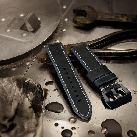 Aeromeister Watch Strap // Vintage Black + Grey Leather // S04