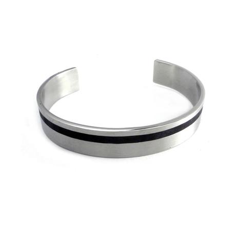 Stainless Steel Pinstripe Cuff Bracelet