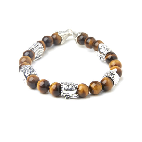 "Sterling Silver Tiger Eye Beaded Buddah Bracelet (8""L)"