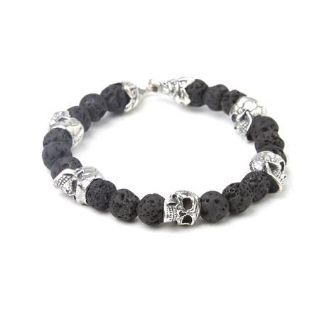 "Sterling Silver Skull Head + Lava Beaded Bracelet (8""L)"