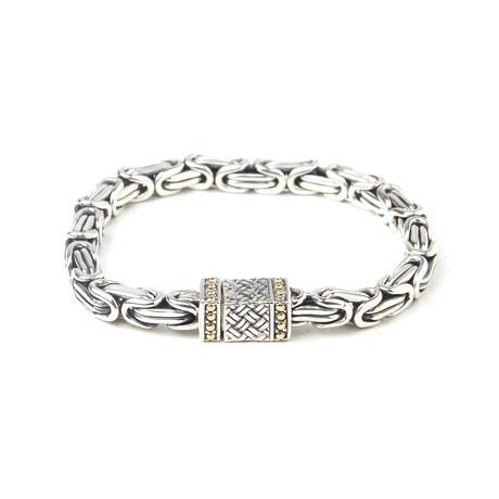 "Byzantine Bracelet + Box Lock // Silver (8"")"