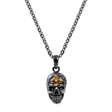 """Fleur de Lis Skull Pendant + 28"""" Chain"""