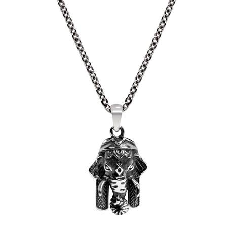 Elephant Hamsa Necklace // Silver