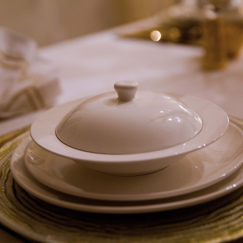Popular Modern Round Soup Bowl + Lid // Set of 4 - Little White Dish  VV07