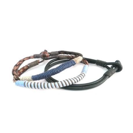Thin Leather Bracelet // Set of 3