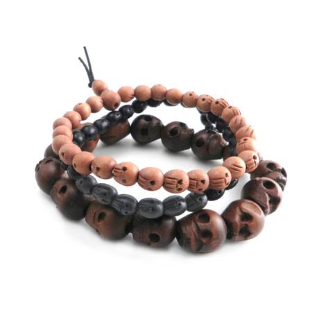 Wood Skull Bead Stretch Bracelet // Set of 3