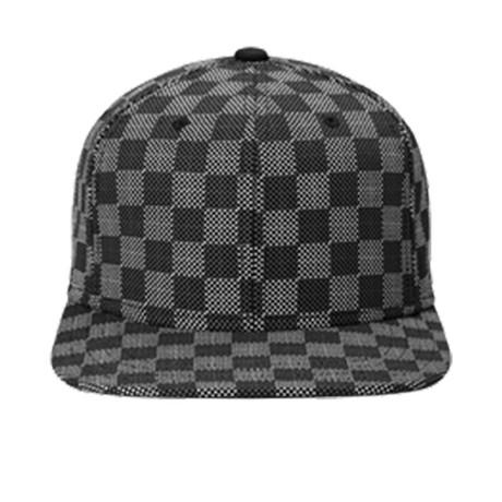 Checker Flat Brim Baseball Cap // Gray