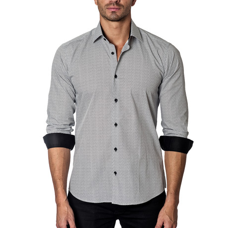 Long-Sleeve Button-Up // White + Black Print