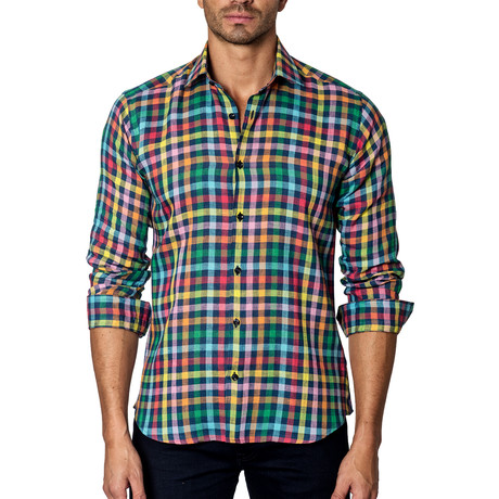 Long-Sleeve Button-Up // Multi Plaid
