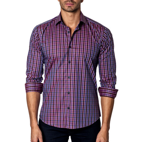 Long-Sleeve Button-Up // Purple Plaid