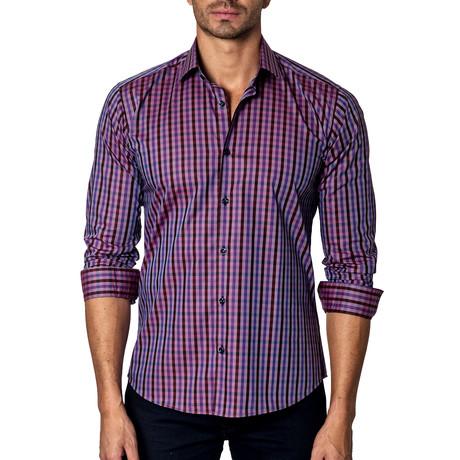 Long-Sleeve Button-Up // Purple Plaid