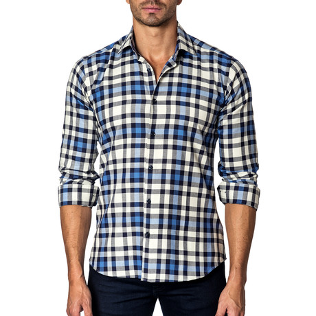 Long-Sleeve Button-Up // White + Blue Check