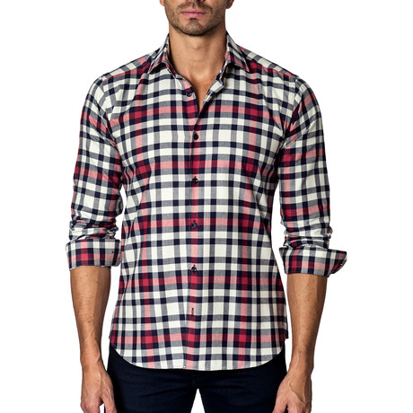 Long-Sleeve Button-Up // White + Red Check