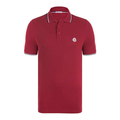 Short Sleeve Contrast Trim Polo // Red