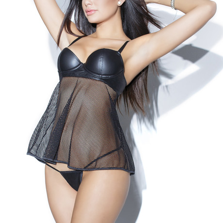 Matt Wet Look & Net Babydoll // Black