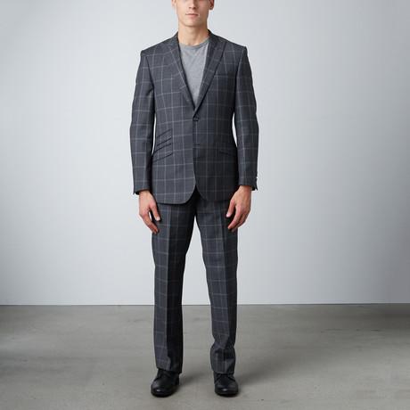 2BSV Windowpane Peak Lapel Pick Stitch Suit // Gray + Light Gray (US: 40S)