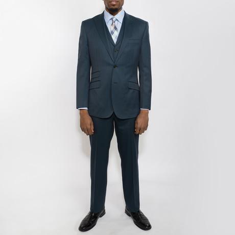 2 Button Windowpane Peak Lapel Vested Wool Suit // Teal Plaid (US: 40S)