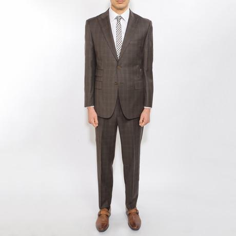 2 Button Plaid Peak Lapel Wool Suit // Brown Plaid