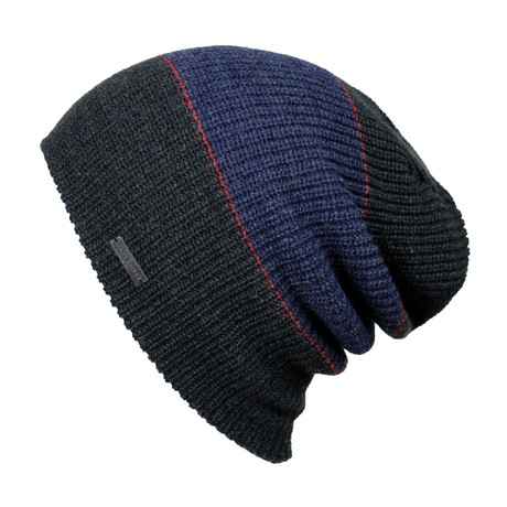 The Forte Slouchy Beanie // Charcoal + Blue