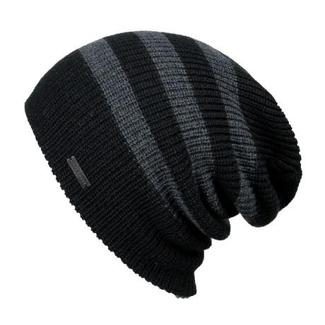 The Forte Slouchy Beanie // Black + Charcoal Stripe