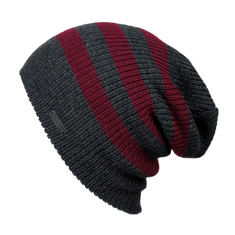 The Forte Slouchy Beanie // Charcoal + Port Stripe