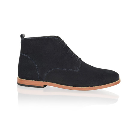 Suede Lace Up Boot // Navy