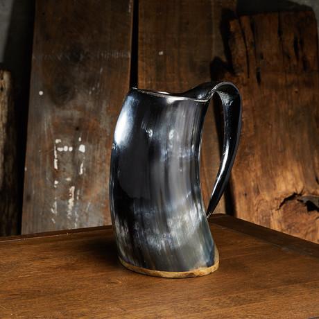 Polished American Pint Drinking Mug // Wood Base