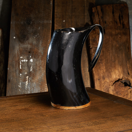 Polished English Pint Drinking Mug // Wood Base