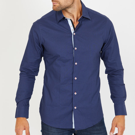 Lucci Long-Sleeve Button-Up Shirt // Slate Blue (S)