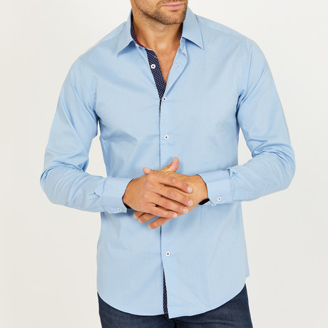 Casey Long-Sleeve Button-Up Shirt // Light Blue (S)