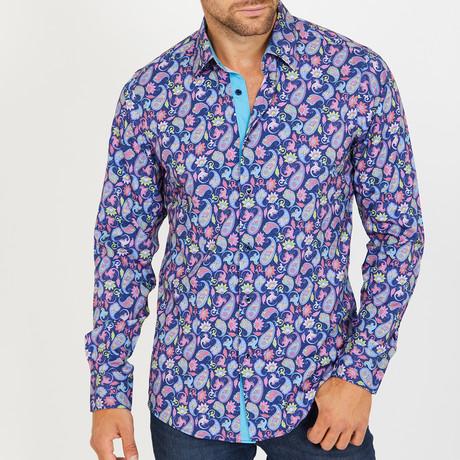 Roger Long-Sleeve Button-Up Shirt // Blue + Pink