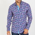Roger Long-Sleeve Button-Up Shirt // Blue + Pink (S)