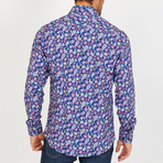 Roger Long-Sleeve Button-Up Shirt // Blue + Pink (XL)